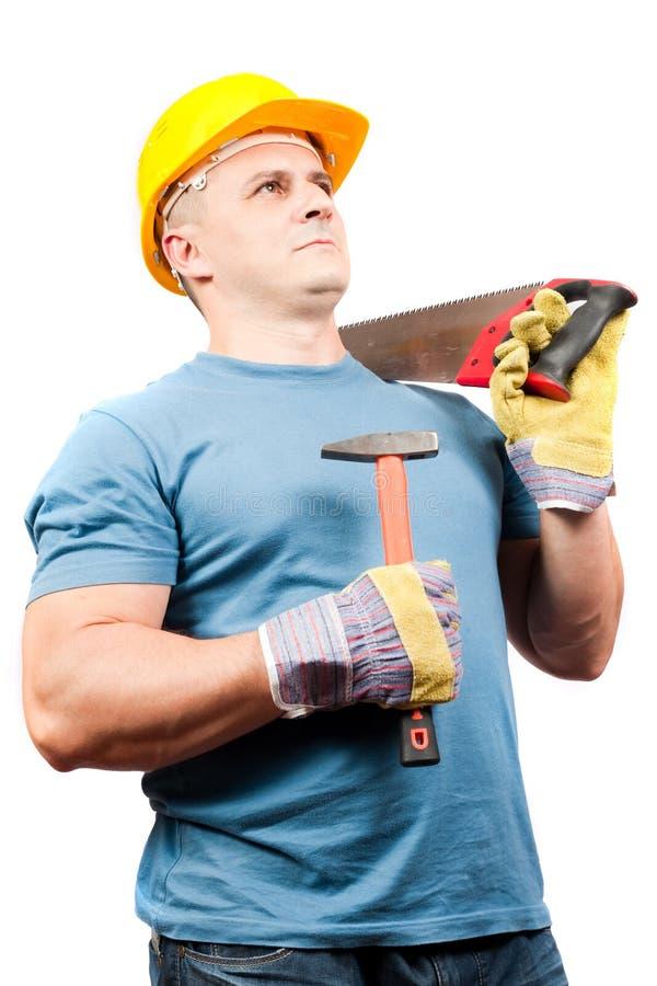 Arbeitskraft des blauen Kragens mit Hilfsmitteln stockbild