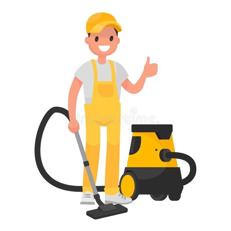 Arbeitskraft des Reinigungsservices Ein Mann kleidete in einer Uniform mit einem v an stock abbildung