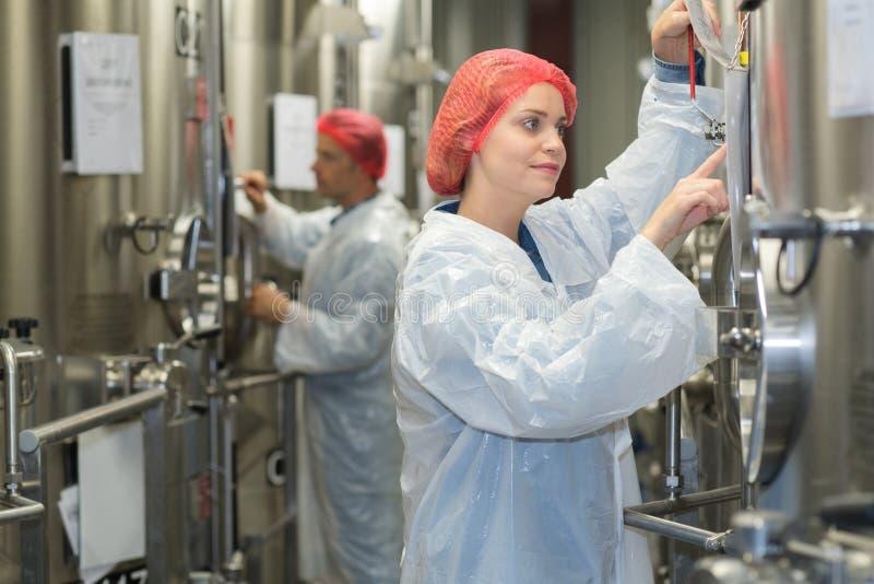 Arbeitskraft, die Bottich auf Herstellung des Weins überprüft stockfotos
