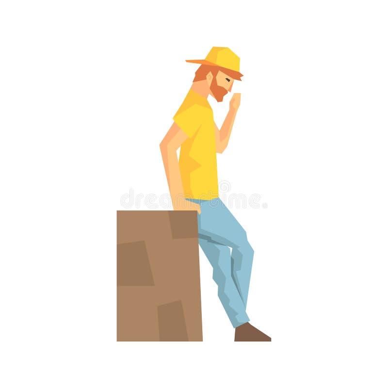 Arbeitskraft, die eine Pause sich lehnt an Angestellter Large Box, Delivery Company liefert Versand-Illustration macht vektor abbildung