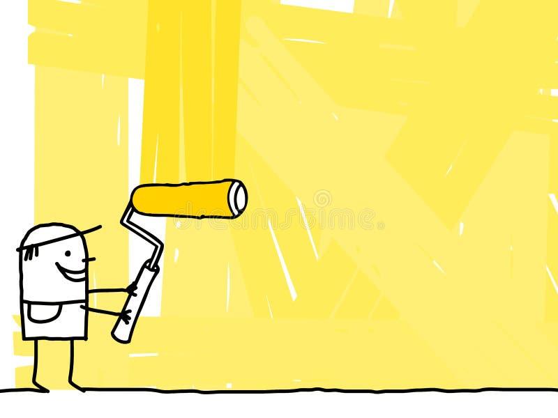 Arbeitskraft, die einen gelben Hintergrund malt vektor abbildung