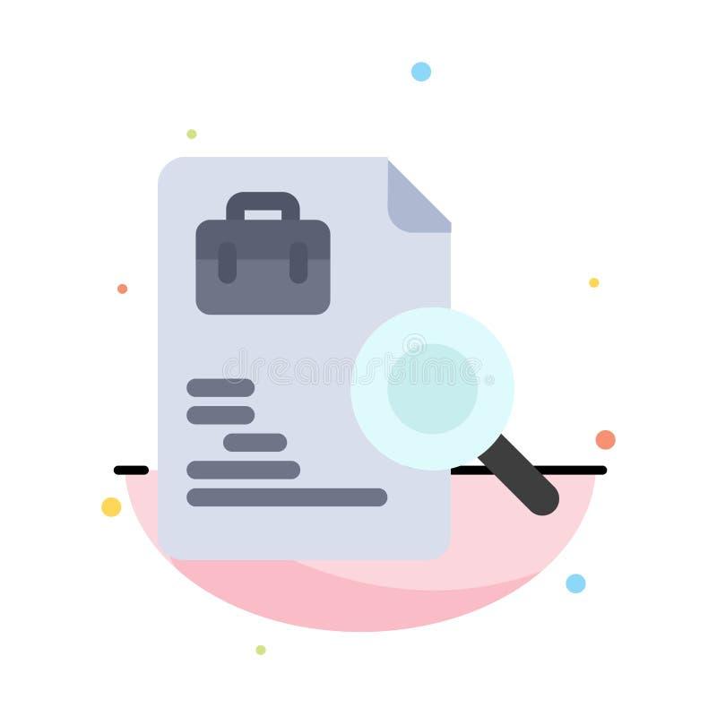 Arbeitskraft, Dokument, Suche, Jobs extrahieren flache Farbikonen-Schablone vektor abbildung