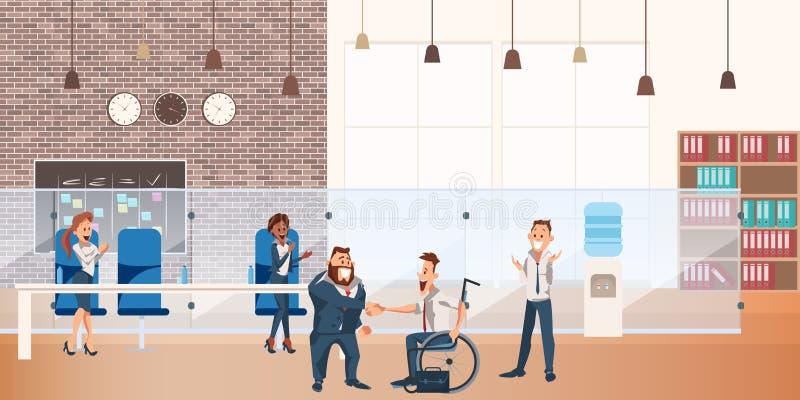 Arbeitskraft erfolgreiches Abkommen an Coworking-Raum machen lizenzfreie abbildung
