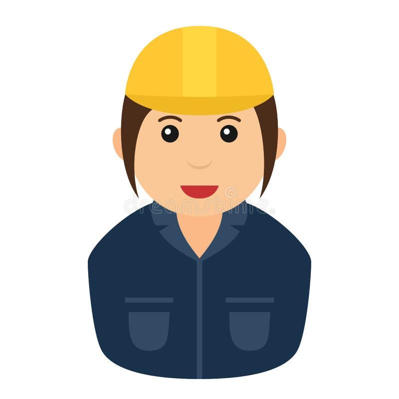 Arbeitskraft-Frau mit Schutzhelm-Avatara lizenzfreie abbildung