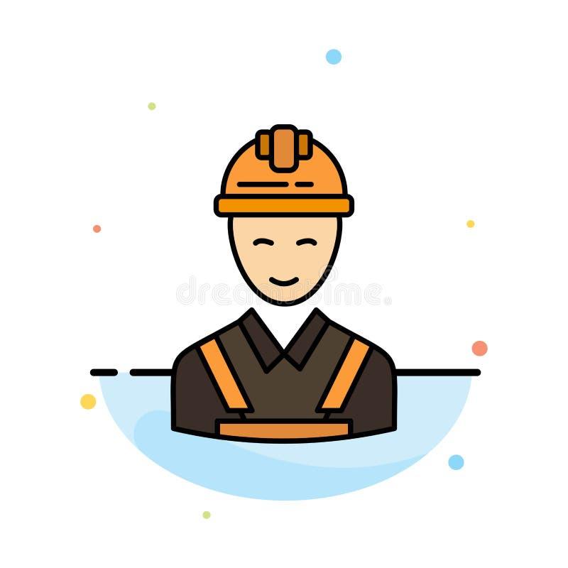 Arbeitskraft, Gebäude, Tischler, Bau, Reparatur-Zusammenfassungs-flache Farbikonen-Schablone lizenzfreie abbildung