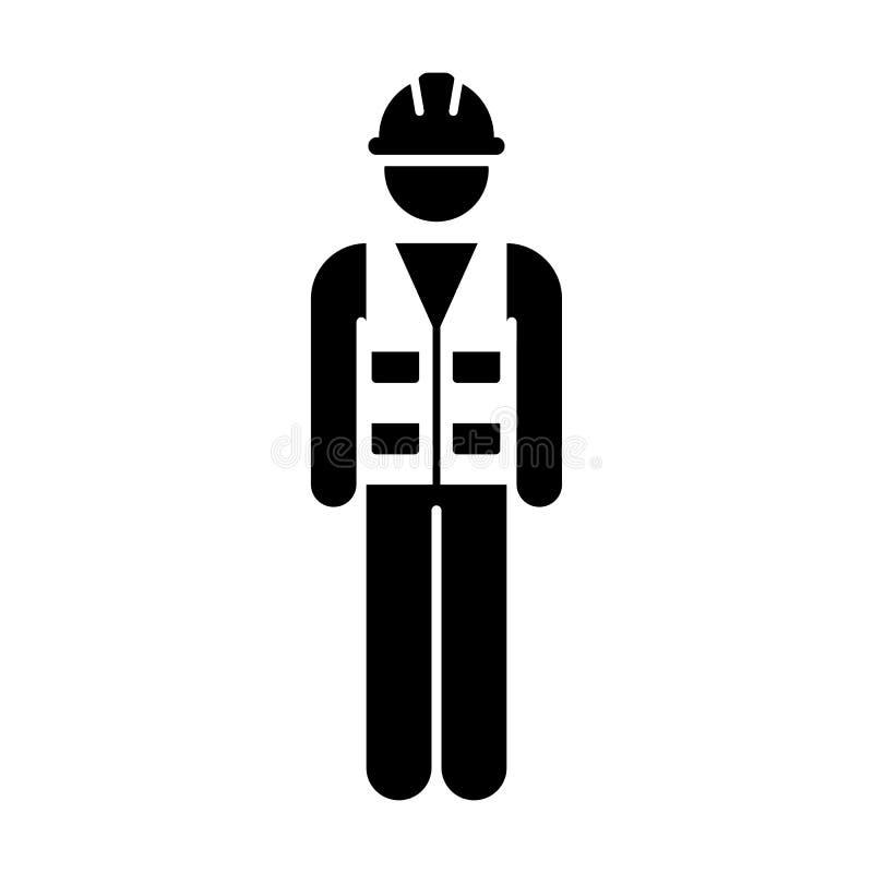Arbeitskraft-Ikonen-Vektor-männliche Service-Person des Hochbau-Arbeiters mit Hardhat-Sturzhelm und der Jacke im Glyph-Piktogramm lizenzfreie abbildung