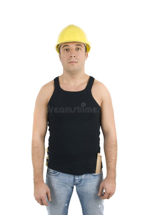 Arbeitskraft im gelben Schutzhelm stockfotografie