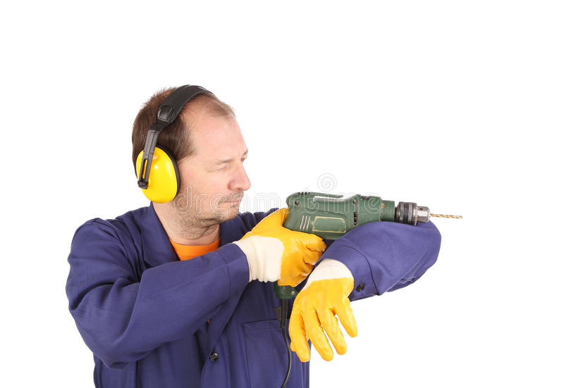 Arbeitskraft mit Bohrgerät stockbild