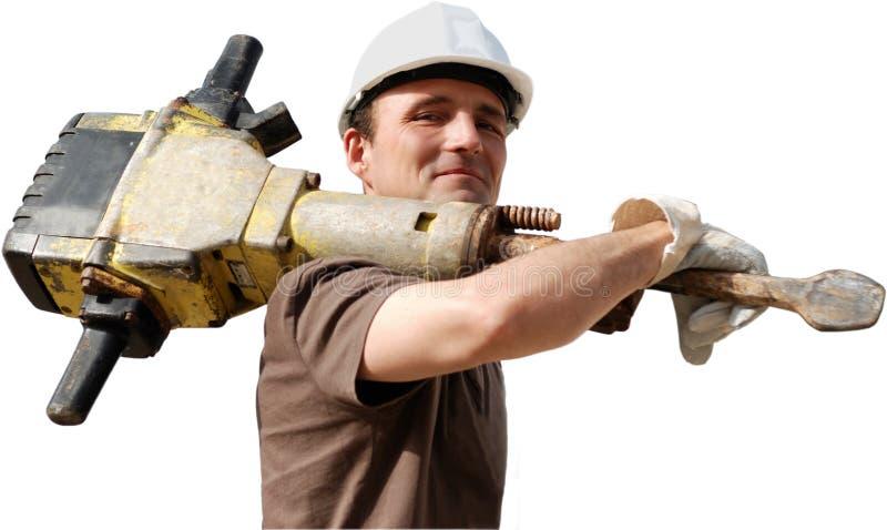 Arbeitskraft mit Jackhammer stockfotografie
