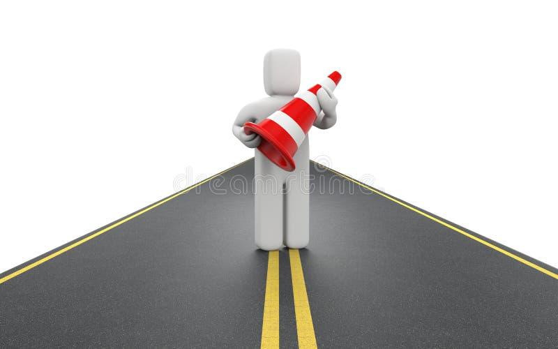 Arbeitskraft mit Verkehrskegeln vektor abbildung