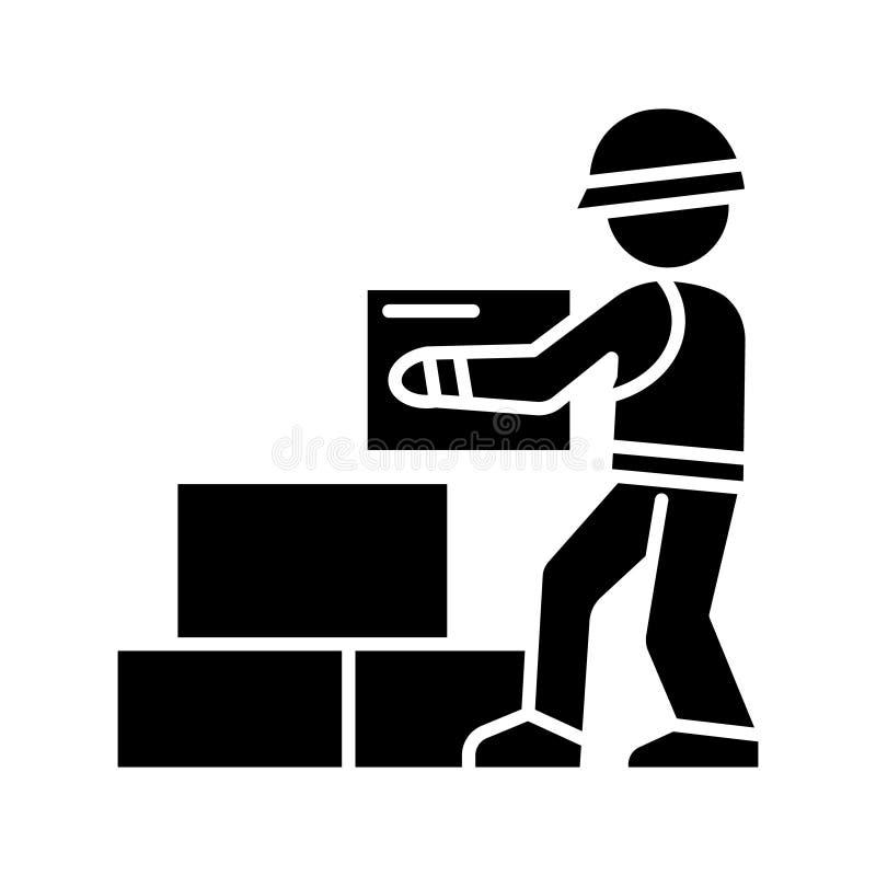 Arbeitskrafterbauer, der Ziegelsteine Ikone, Vektorillustration, schwarzes Zeichen auf lokalisiertem Hintergrund nimmt vektor abbildung