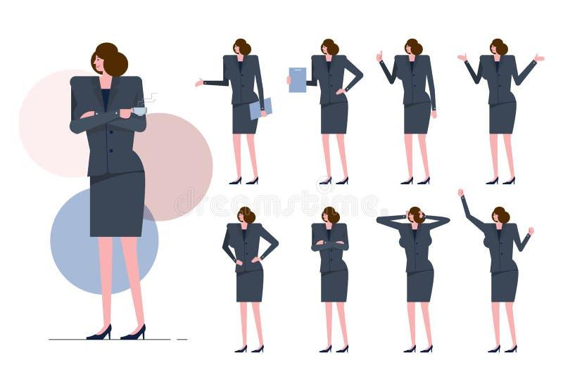Arbeitskraftfrau mit grauer Klage auf vielen Haltung vektor abbildung