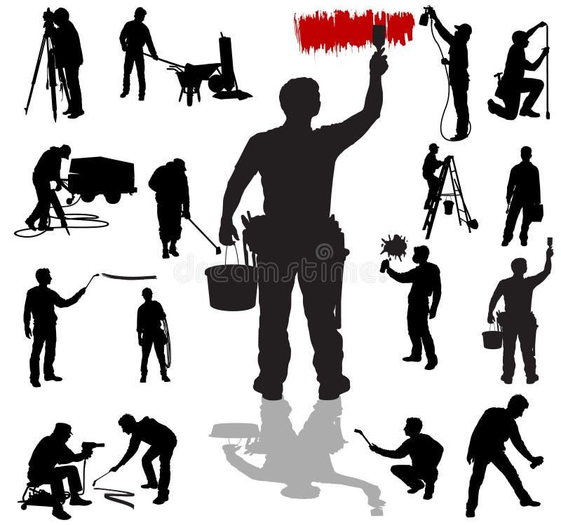 Arbeitskraftschattenbilder vektor abbildung
