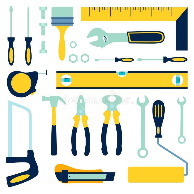 Arbeitskraftwerkzeuge Erbauer, Automechaniker oder Mechaniker Isoliergegenst?nde Unbedeutende im Art Karikatur-flachen Vektor vektor abbildung