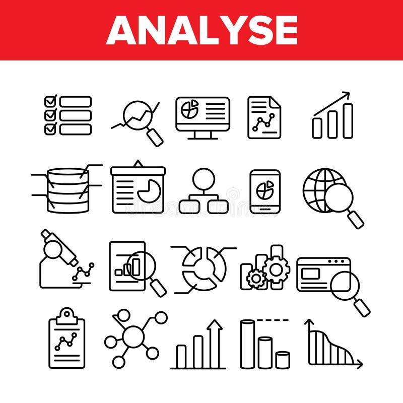 Arbeitsleiste-dünne Linie Ikonen-Satz analysieren stock abbildung