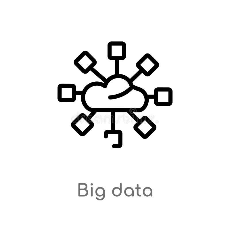 Arbeitsleisteikone des Entwurfs große lokalisiertes schwarzes einfaches Linienelementillustration vom Konzept große Datenikone de stock abbildung