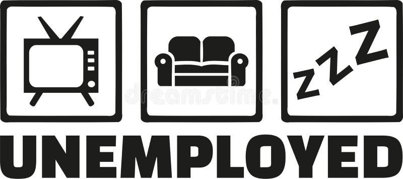 Arbeitslose Ikonen - Fernsehen, Sofa, Schlaf stock abbildung