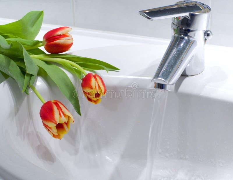 Arbeitsmischerhahn mit einigen Tulpen auf einem Zählwerk stockbild