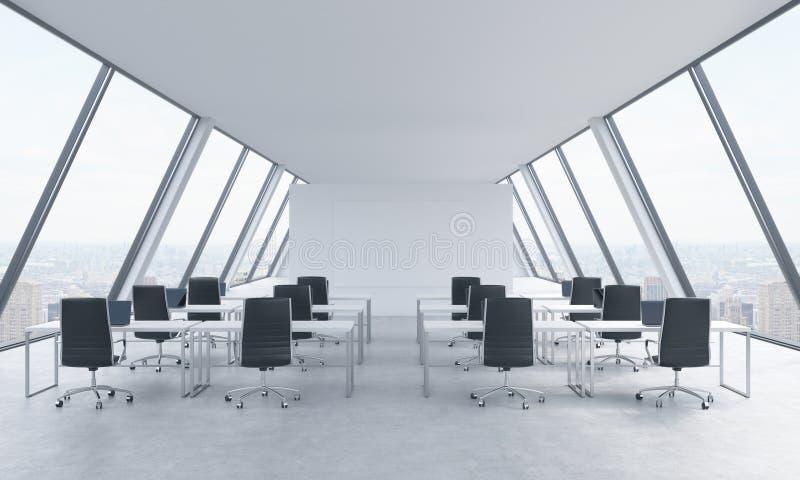 Arbeitsplätze in einem hellen modernen offenen Raum lüpfen Büro Weiße Tabellen und schwarze Stühle New- Yorkpanoramablick in den  vektor abbildung