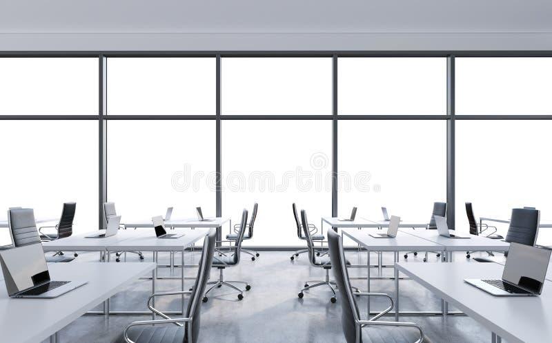 Arbeitsplätze in einem modernen panoramischen Büro, Kopienraum in den Fenstern Offener Raum Weiße Tabellen und schwarze Lederstüh vektor abbildung