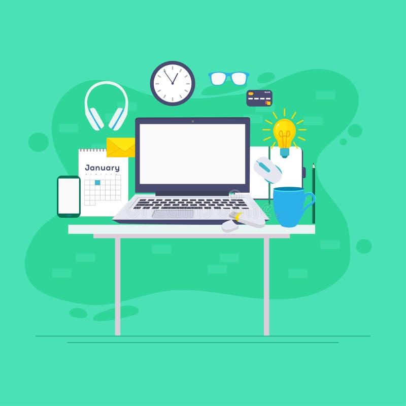 Arbeitsplatz, Analytik, Optimierung, Management Modernes Vektorillustrationskonzept, lokalisiert auf weißem Hintergrund lizenzfreie abbildung