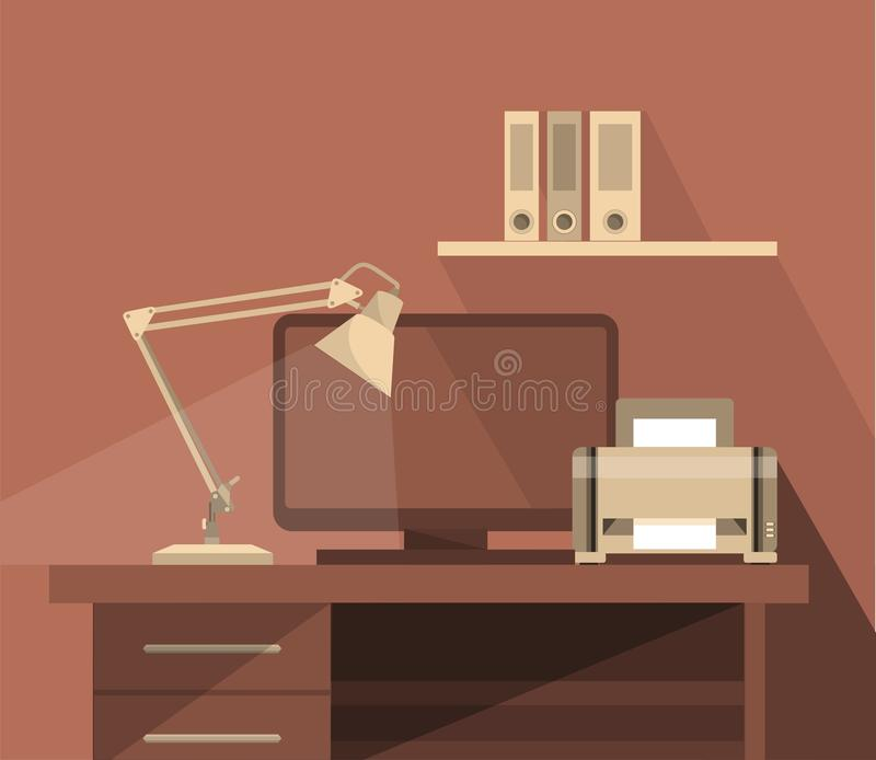 Arbeitsplatz-Büro-Illustration lizenzfreie abbildung