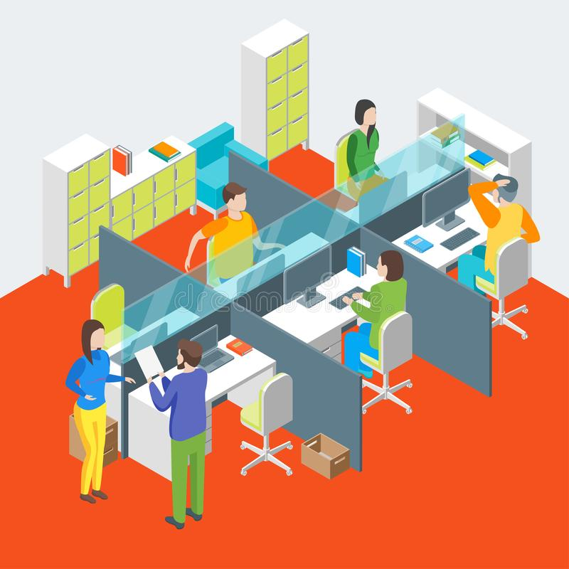 Arbeitsplatz-Büro-Innenraum mit Möbel-isometrischer Ansicht Vektor lizenzfreie abbildung