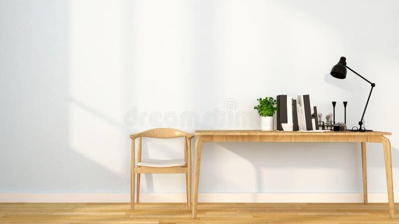 Arbeitsplatz in der Wohnung oder haus- Innenarchitektur für Grafik - Wiedergabe 3D stockfotos