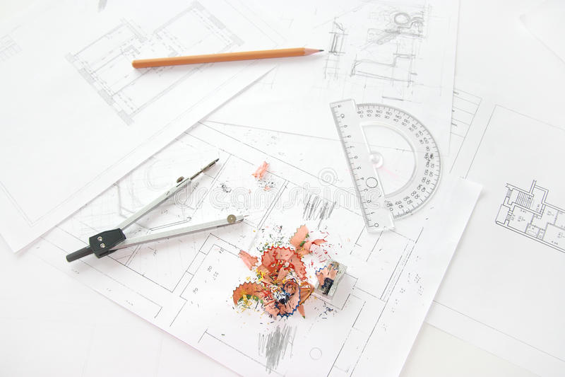 Arbeitsplatz des Architekten stockfoto