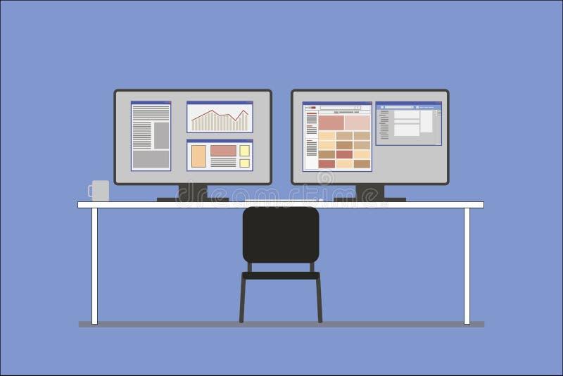 Arbeitsplatz des Finanzanalytikers lizenzfreie stockbilder