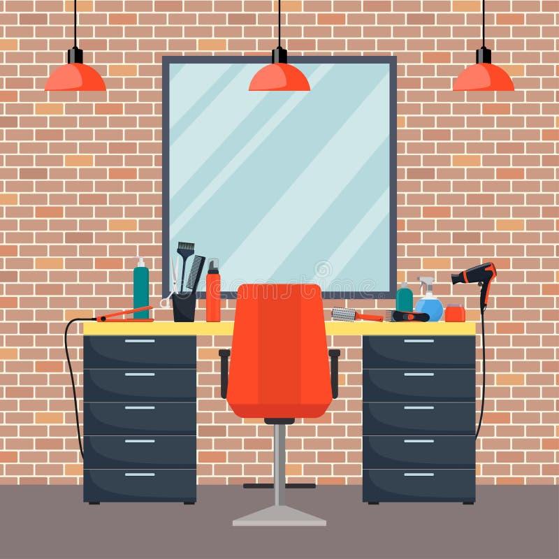 Arbeitsplatz des Friseurs s im Frauenschönheitsfrisörsalon Stuhl, Spiegel, Tabelle, Frisurnwerkzeuge, kosmetische Produkte für Ha stock abbildung
