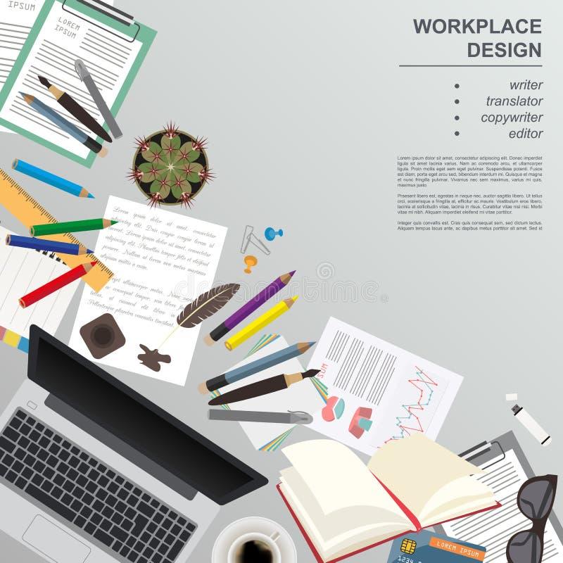 Arbeitsplatz des Verfassers, Übersetzer, Werbetexter, Herausgeber Spott oben vektor abbildung