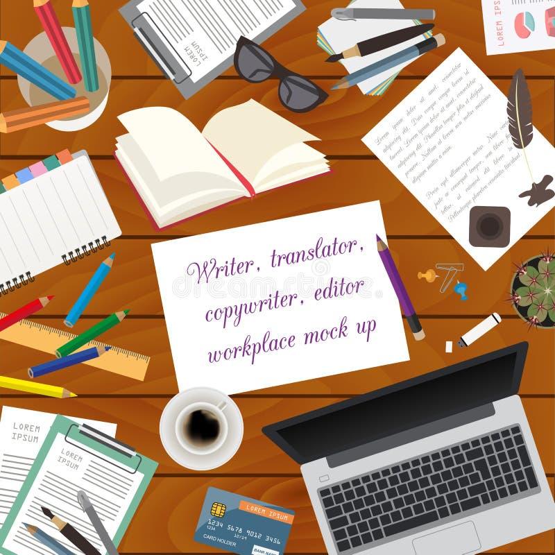 Arbeitsplatz des Verfassers, Übersetzer, Werbetexter, Herausgeber Spott oben lizenzfreie abbildung