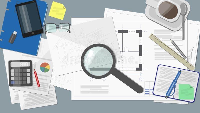 Arbeitsplatz - Erbauerarchitekt mit Dokumenten und Zeichnungen vektor abbildung