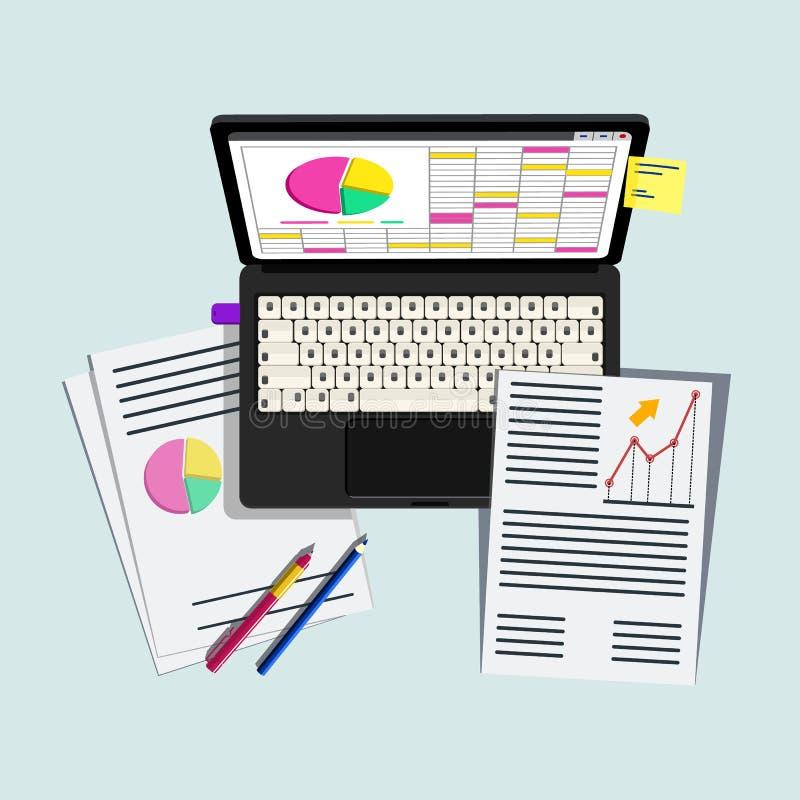 Arbeitsplatz für Geschäft, Management und IT Laptop, Handy, Notizbuch und Büroartikel auf dem Desktop lizenzfreie abbildung