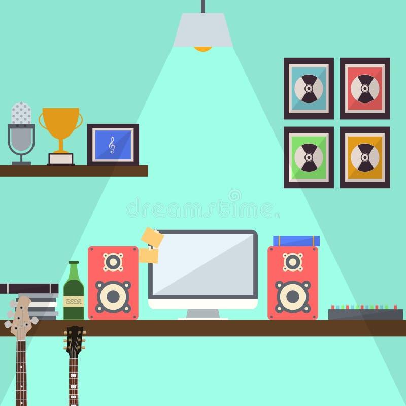 Arbeitsplatz-flaches Design lizenzfreie abbildung