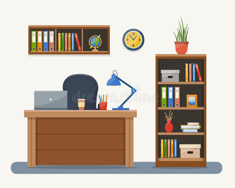 Arbeitsplatz im Büro stock abbildung