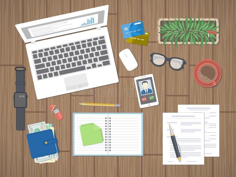Arbeitsplatz im Büro Arbeit in einem Team, Arbeitstätigkeit Büroarbeitsmittel auf einem Holztisch Ansicht von oben lizenzfreie abbildung