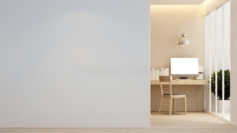 Arbeitsplatz im Haus oder in der Wohnung - Innenarchitektur - Wiedergabe 3D lizenzfreie stockfotos