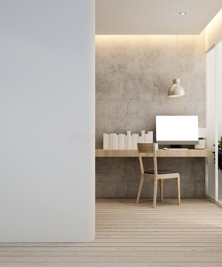 Arbeitsplatz im Hotel oder in der Wohnung - Innenarchitektur - Wiedergabe 3D lizenzfreie stockfotografie