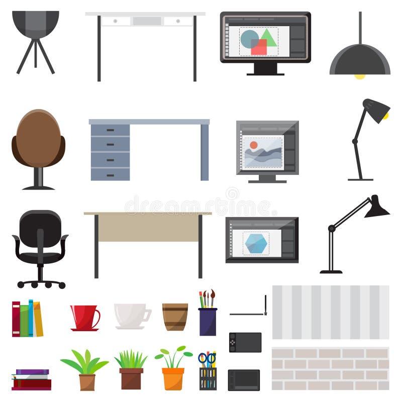 Arbeitsplatz-Innenelement-Satz stock abbildung