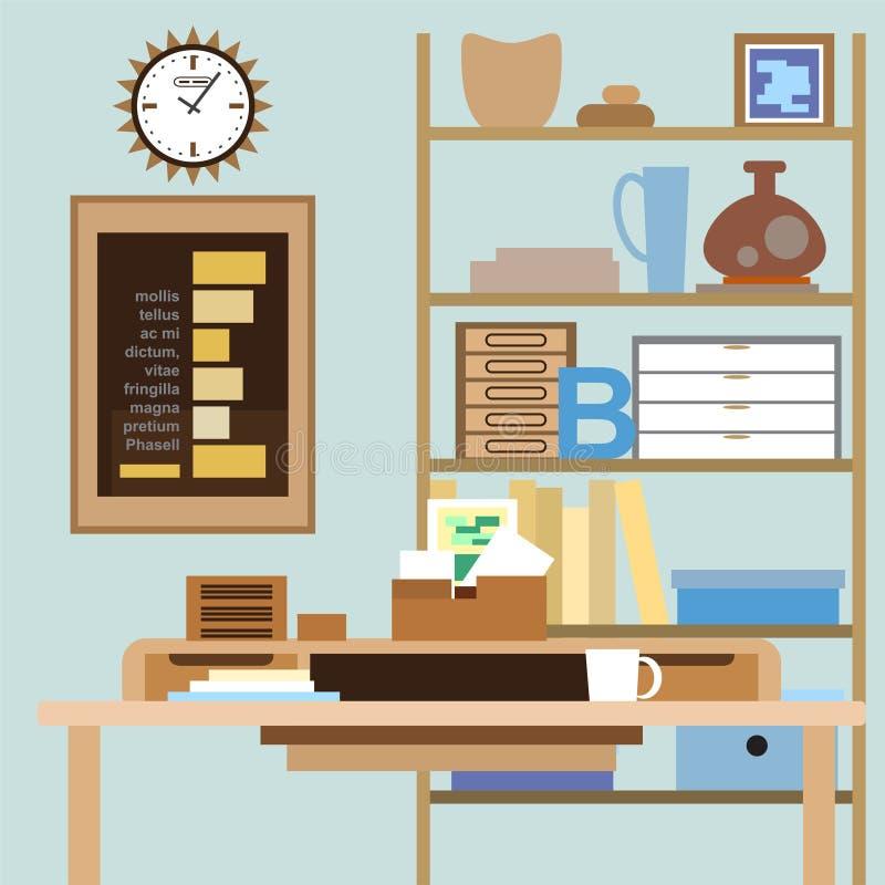 Arbeitsplatz mit einem Schreibtisch, Regalen, Kästen und anderen Einzelteilen stock abbildung