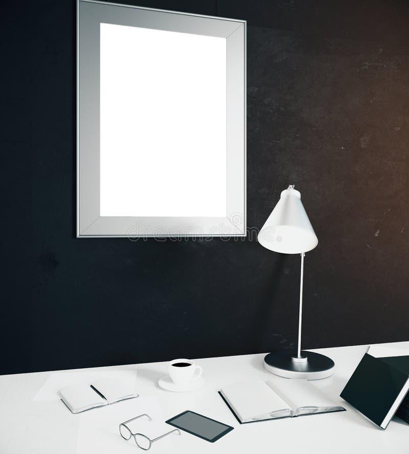 Arbeitsplatz mit leerem Rahmen lizenzfreie abbildung