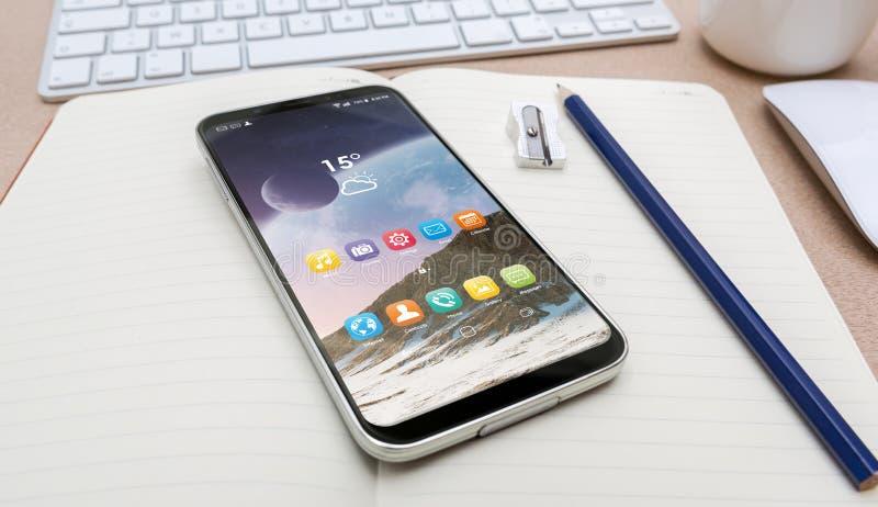 Arbeitsplatz mit modernem Handy lizenzfreie abbildung