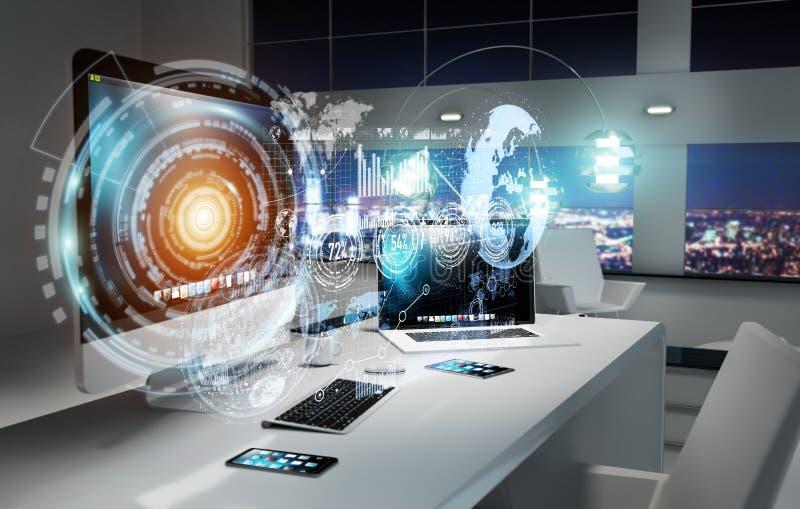 Arbeitsplatz mit modernen Geräten und Hologramm sortiert Wiedergabe 3D aus vektor abbildung