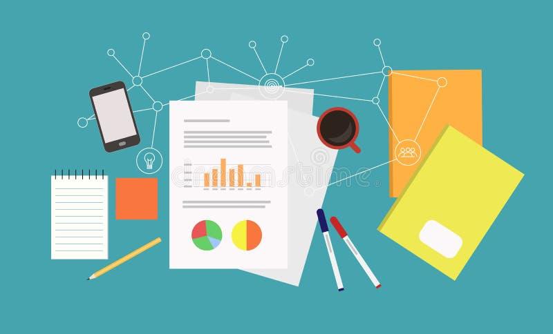 Arbeitsplatz mit Papieren mit Diagrammen und anderer Ausrüstung auf blauem Hintergrund - flache Illustration des Vektors stock abbildung