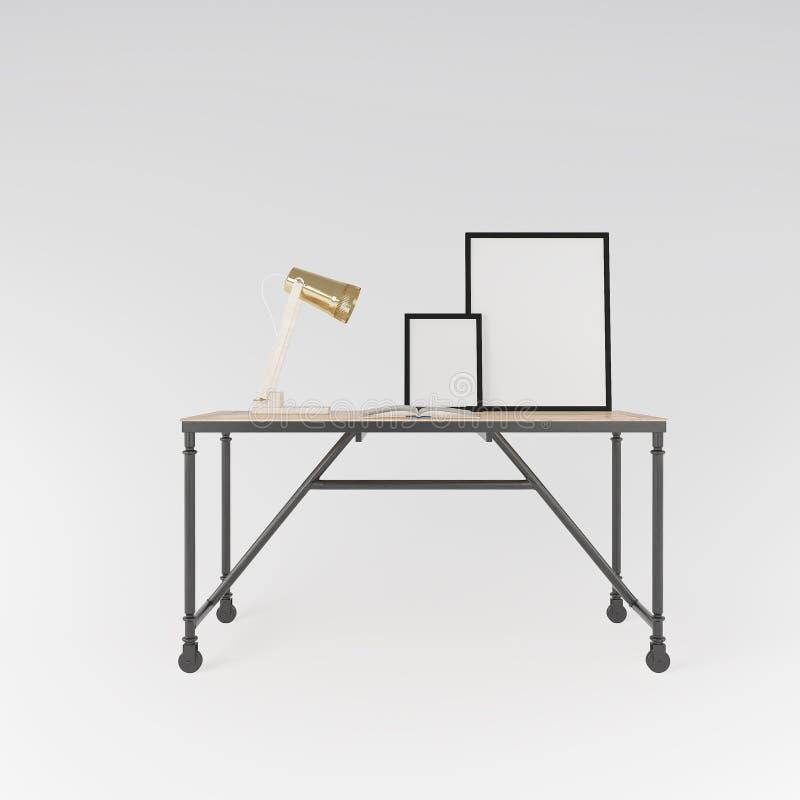 Arbeitsplatz mit Tabellen- und Schreibtischlampe Front View stock abbildung