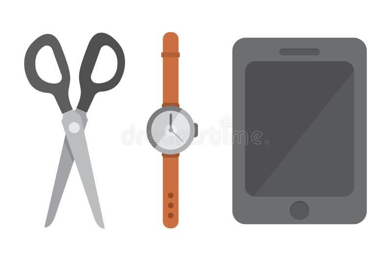 Arbeitsplatz mit tragbaren Geräten und Dokumenten Büro persönlich und Geschäfts-Ikonen stock abbildung