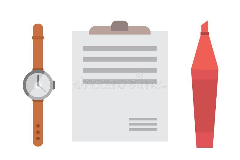 Arbeitsplatz mit tragbaren Geräten und Dokumenten Büro persönlich und Geschäfts-Ikonenvektorsatz Arbeitstabelle mit Gerät vektor abbildung