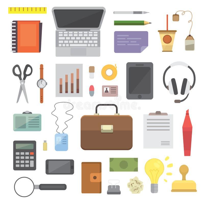 Arbeitsplatz mit tragbaren Geräten und Dokumenten Büro persönlich und Geschäfts-Ikonenvektorsatz Arbeitstabelle mit Gerät lizenzfreie abbildung